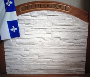 Revêtement de pierres de papier CÉLESTINE fabriqué avec DÉCO LOGIQUE un produit Éco/enviro PAPIER 100% RECYCLÉ en instance de brevet inventé par Mario Lessard et Christine Thibeault